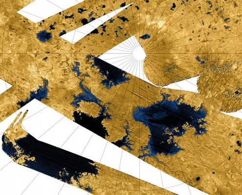Cassini radar mosaic of Titan's north polar region. Blue coloring indicates low radar reflectivity, caused by hydrocarbon seas, lakes and tributary networks filled with liquid ethane, methane and dissolved N2.