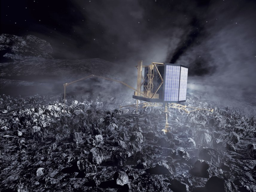 Rosetta is a robotic spacecraft built and launched by the European Space Agency to perform a detailed study of comet 67P/Churyumov–Gerasimenko. Credit: ESA