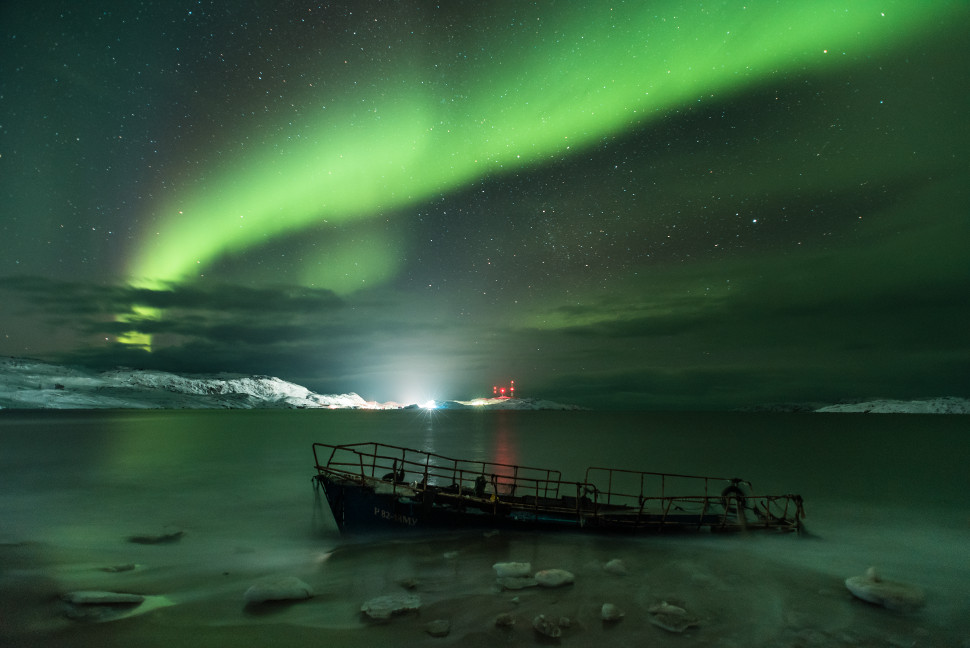 A stunning photo of the Northern Lights taken near the village of of Teriberka in the Murmansk Oblast district of Russia.