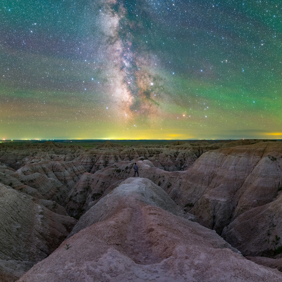 Photographer Jingpeng Liu captured this exquisite shot of our galaxy in Badlands National Park, South Dakota. This panoramic view is a six-shot composite: three for the sky and three for the foreground.