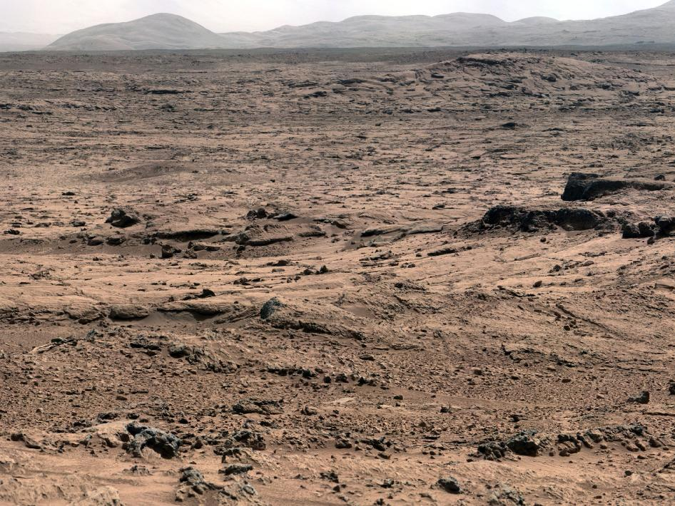 Panoramic View From 'Rocknest' Position of Curiosity Mars Rover. Image Credit: NASA/JPL-Caltech/Malin Space Science Systems.