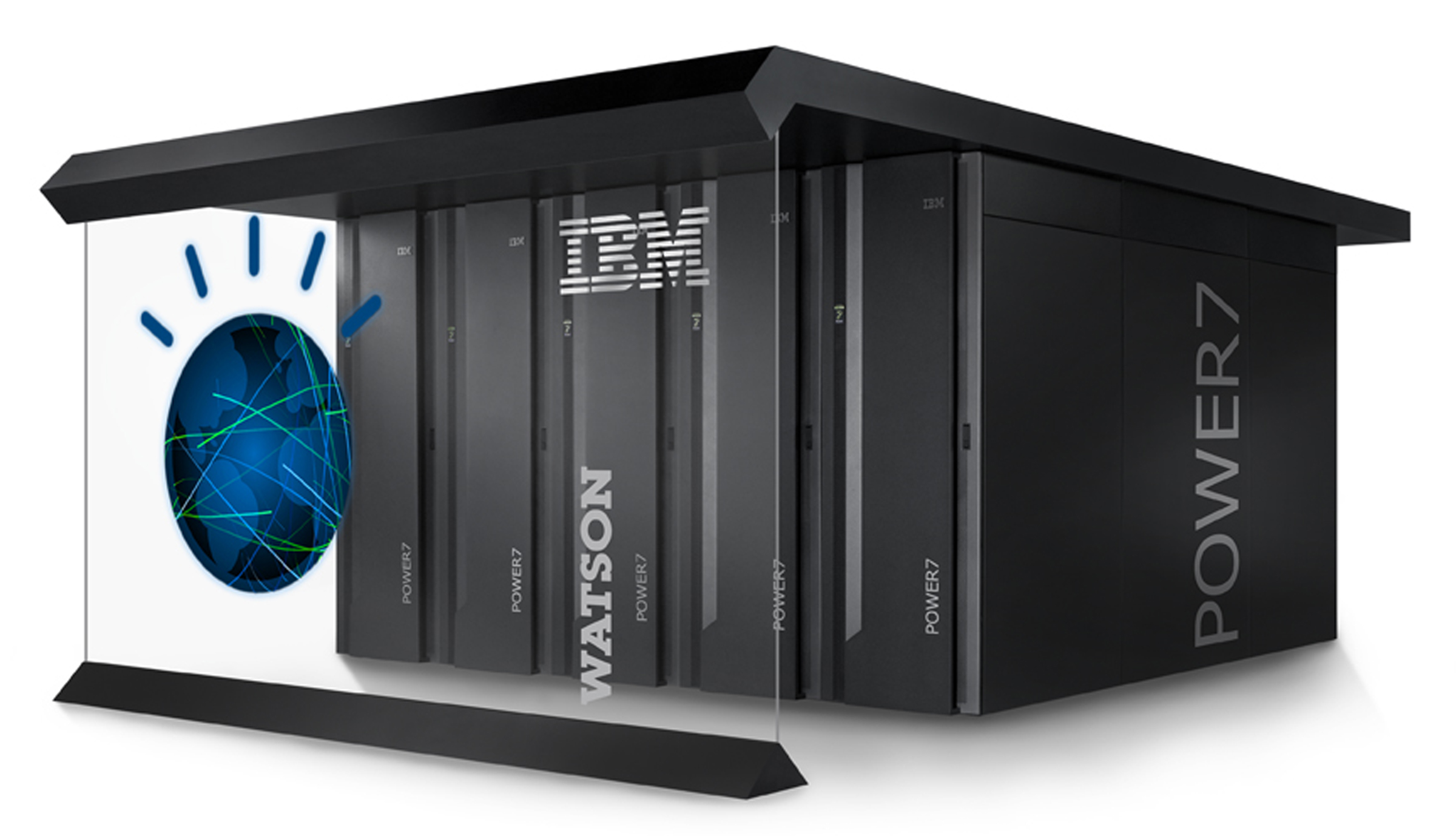 Watson is a AI computer powered by IBM POWER7, a work-load optimized system that can answer questions posed in natural language over a nearly unlimited range of knowledge. Credit: IBM.